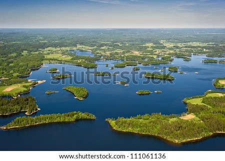 aerial view over the lakes and islands
