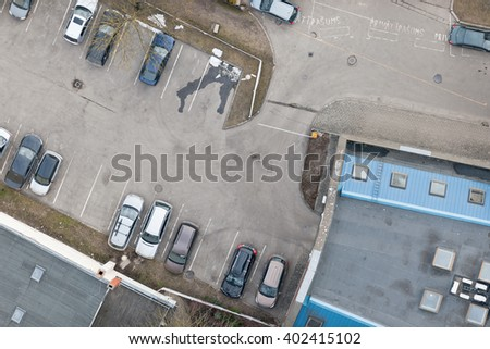 Aerial view over the parking place