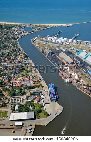 Aerial view over the port Ventspils - stock photo
