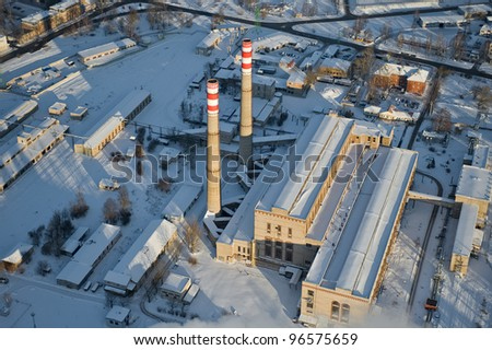 aerial view over the power-station - stock photo