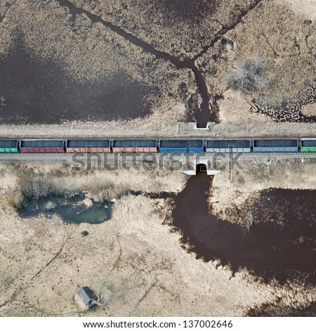 Aerial view over the railway - stock photo