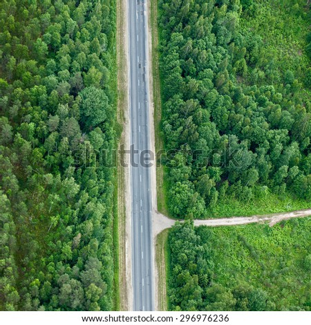 aerial view over the road