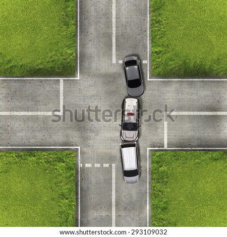 Aerial view over the road and highway, Accident car crash - stock photo