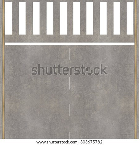 Aerial view over the road and highway with crosswalk - stock photo