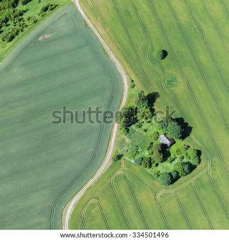 aerial view over the rural fields