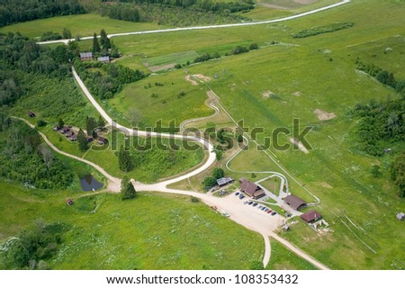 aerial view over the rural landscape in Latvia - stock photo