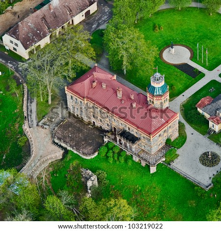 aerial view over the Sigulda palace - stock photo