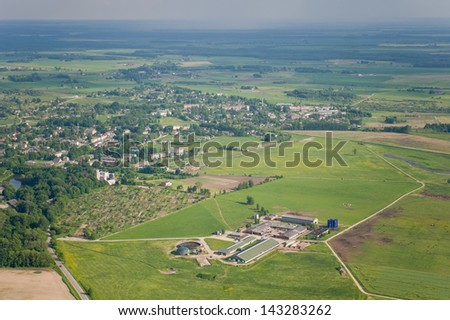aerial view over the suburb - stock photo