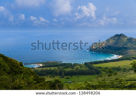 Aerial view overlooking Kauai and the Pacific Ocean, Kauai, Hawaii, USA - stock photo