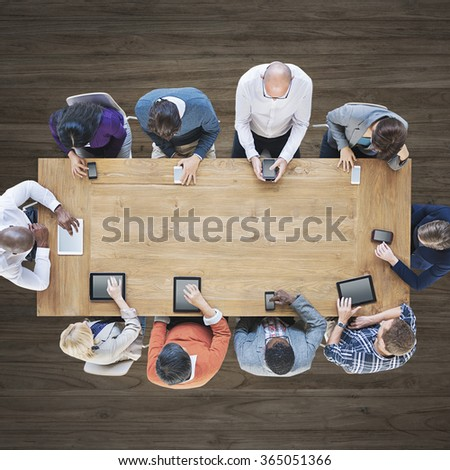 Aerial View People Teamwork People Digital Devices Concept - stock photo