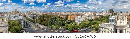 Aerial view  Plaza de Cibeles in Madrid in a beautiful summer day, Spain - stock photo