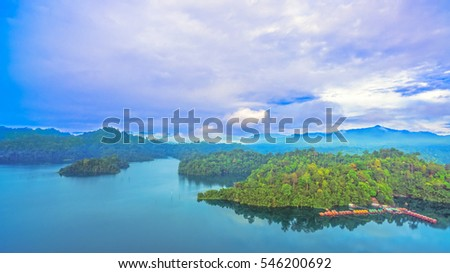 aerial view Rajjaprabha Dam in Kho Sok national park is the biggest rainforest national park in Thailand