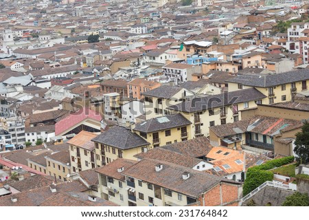 aerial view rooftops in old town Quito Ecuador South America - stock photo