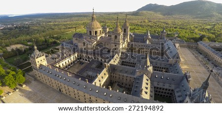 Aerial view Royal Monastery of San Lorenzo de El Escorial near Madrid, Spain