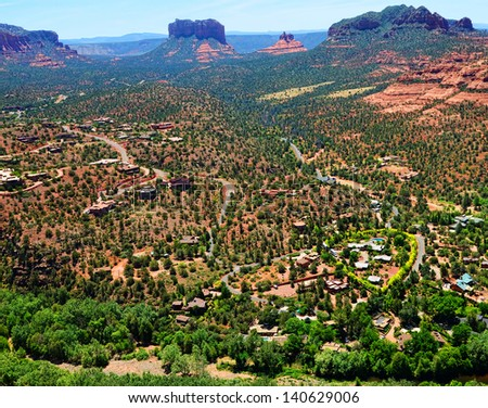 Aerial view Sedona Arizona red rock country - stock photo