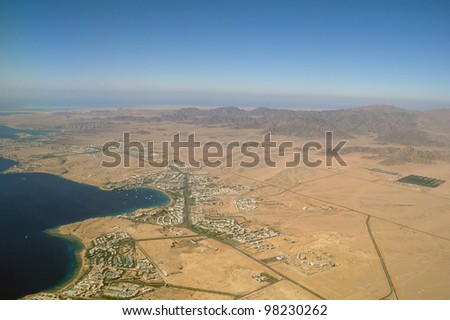 Aerial View Sharm el Shiekh and red sea.Egypt - stock photo
