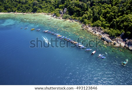 aerial view snorkeling group activity at perhentian island terengganu malaysia