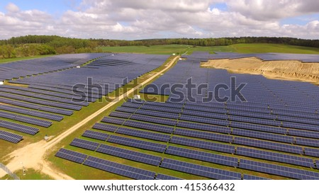 aerial view Solar panels Photovoltaic system bird's-eye view   - stock photo