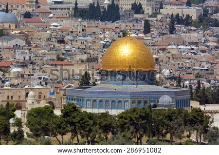 Aerial view the Dome of the Rock on the Temple Mount from the mount of Olives in Jerusalem, Israel