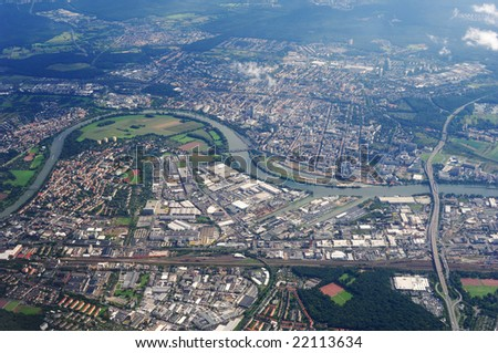 aerial view the landscape of europe city - stock photo