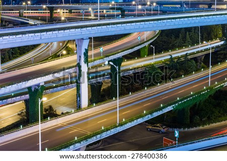 aerial view the overpass at night, shanghai china. - stock photo