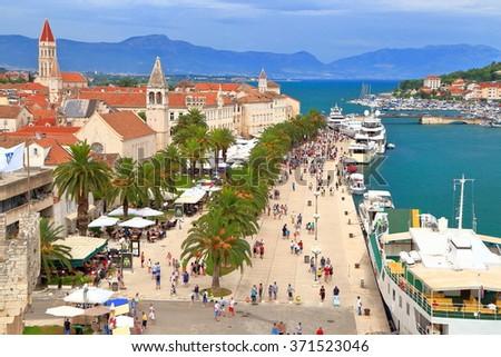 Aerial view to an old Venetian town along the Adriatic sea, Trogir, Croatia - stock photo