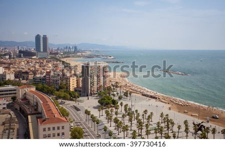 Aerial view to Barcelona seaside in a summer day
