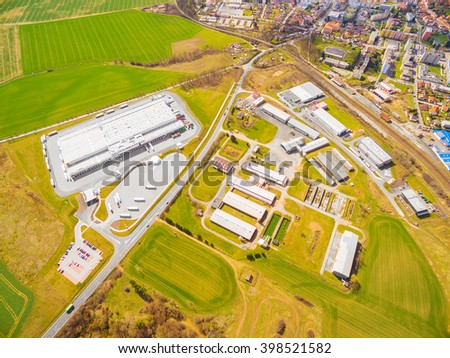 Aerial view to industrial zone and technology park on Dobrany suburb of Pilsen city in Czech Republic, Europe. - stock photo