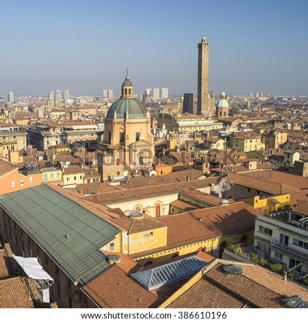 aerial view to old historical center of italian city - stock photo