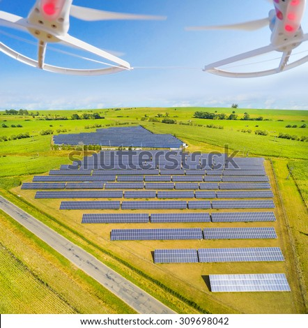 Aerial view to solar power plant.  Use drones to inspect electric infrastructure. Modern technology theme. - stock photo