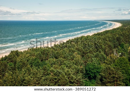 Aerial view to the beach - stock photo