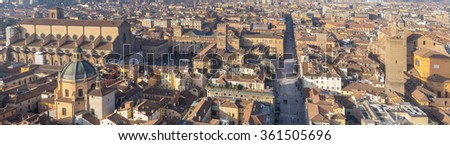 aerial view to the city and roofs in Bologna in Italy - stock photo