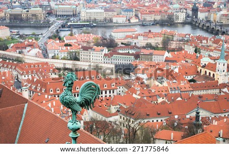Aerial view to the historical center of Prague, Czech republic from Prague castle (Pražský hrad) - UNESCO world heritage site - stock photo