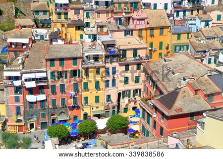 Aerial view to the old buildings from the historical village of Vernazza, Cinque Terre, Italy - stock photo