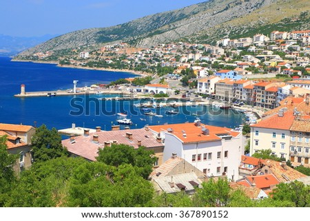 Aerial view to the old town and harbor of Senj, Croatia - stock photo