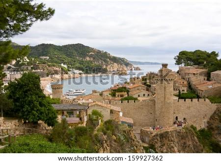Aerial view to Tossa de Mar, the beach and medieval castle. Catalonia, Spain, Costa Brava - stock photo
