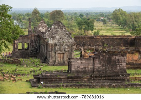 Aerial view. Vat Phou or Wat Phu is the UNESCO world heritage site in Champasak, Southern Laos. Wat Phou Hindu temple in the Khmer Empire located in the capital of the Champasak Lao