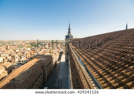 aerial views of old toledo city - stock photo