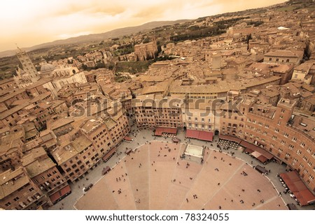 Aeriel view of Siena, Italy, with Piazza Del Campo and the Cathedral - sepia toned - stock photo