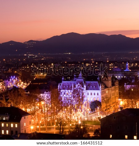Aeriial panoramic view of romantic medieval Ljubljana's city center, the capital of Slovenia, decorated for Christmas holidays. Ljubljana, Slovenia, Europe.