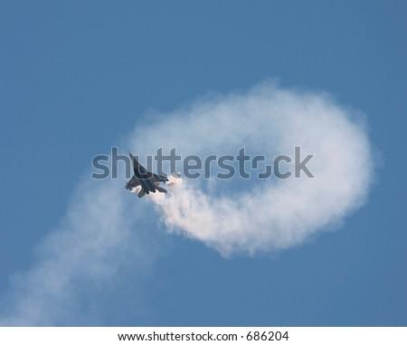 Aerobatic on the jet - stock photo