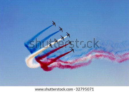 Aerobatic team at airshow - stock photo