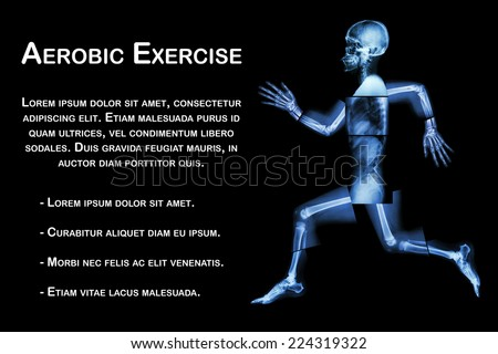 Aerobic Exercise (human bone is running) ,(Whole body x-ray : head ,neck ,shoulder ,shoulder ,arm ,elbow ,forearm ,hand ,finger ,joint ,thorax ,abdomen ,back,pelvis ,hip ,thigh ,leg ,knee ,foot ,heel) - stock photo