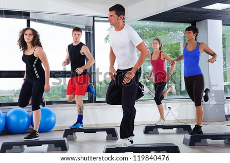 Aerobics Class in a Gym, Italy - stock photo