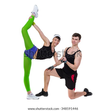 Aerobics fitness couple exercising, isolated in full body. Energetic fit fitness model.
