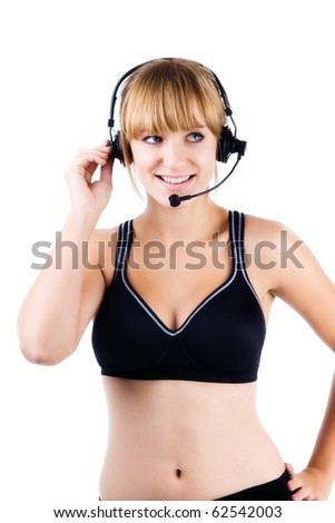 Aerobics instructor wearing wireless microphone on white background - stock photo