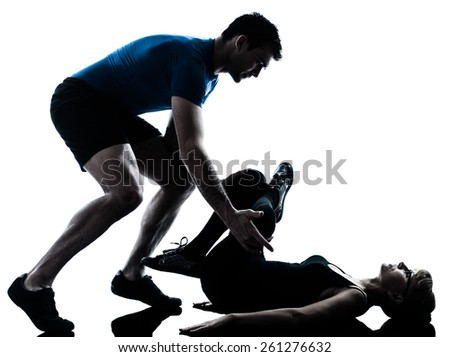 aerobics instructor with mature woman exercising fitness workout in silhouette studio isolated on white background
