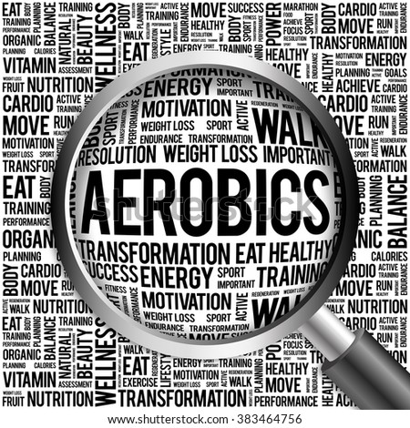 Aerobics word cloud with magnifying glass, health concept