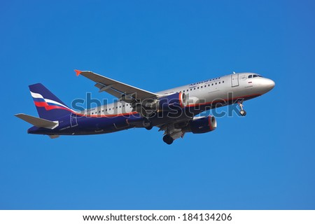 Aeroflot - Russian Airlines Airbus A320-214 - VQ-BBB landing, Ukraine, Boryspil International Airport, March, 23, 2014