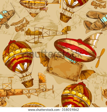 Aeronautic transport old style aviation machines seamless pattern hand drawn  illustration - stock photo